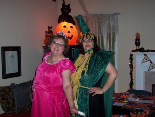 Halloween, 2009, Mom and her friend Terry. Mom made her own Carol Burnett/GWTW costume.